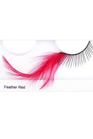 You Get 6 Pairs - Feather Elashes Red